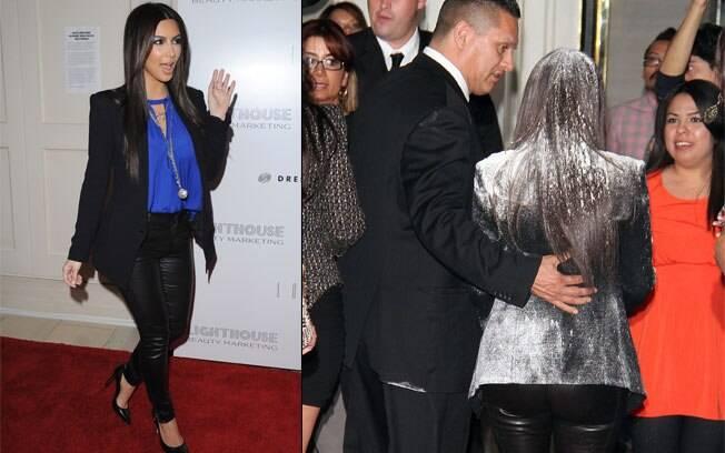 Kim Kardashian chegou assim, linda; mas não demorou muito para ser atacada