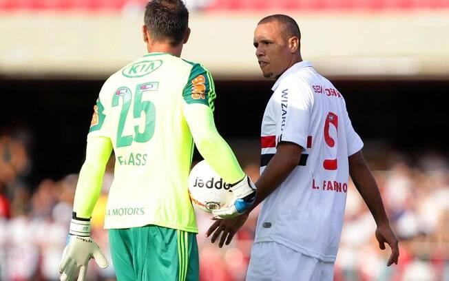 Fernando Prass, goleiro do Palmeiras, e Luis  Fabiano, atacante do São Paulo