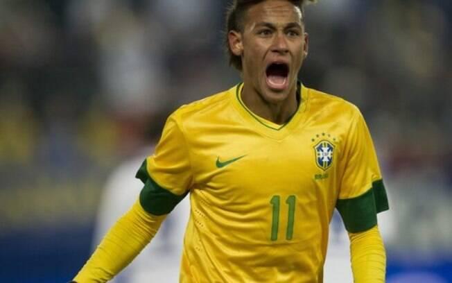 Neymar com o visual espanador em jogo da  seleção brasileira contra a Bósnia no começo de  2012