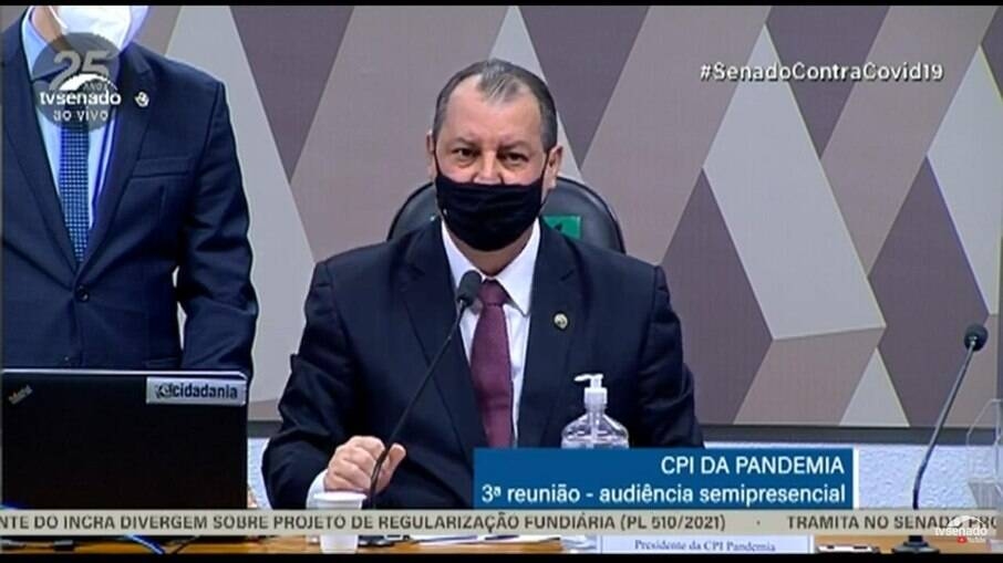 Senador Omar Aziz (PSD-AM), durante audiência na CPI da Covid