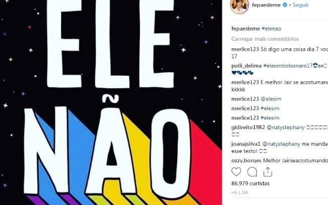 Bruna Marquezine e outras famosas aderiram a tag Ele Não contra Jair Bolsonaro