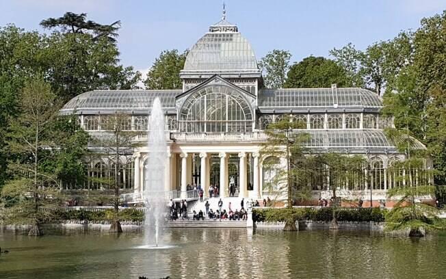 O Palácio de Cristal, no parque do Retiro, em Madrid