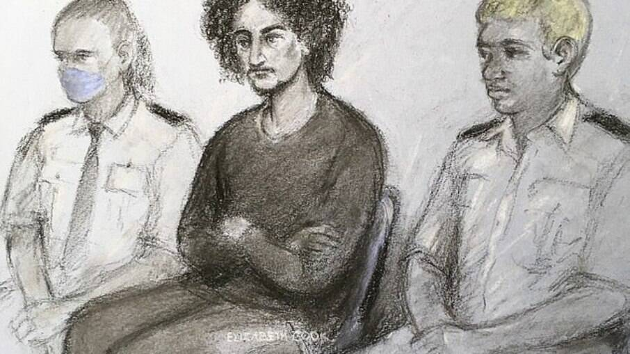 Desenho representativo de Danyal Hussein durante sessão na corte