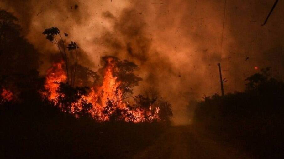 Foto de queimada no Pantanal registrada em 2020