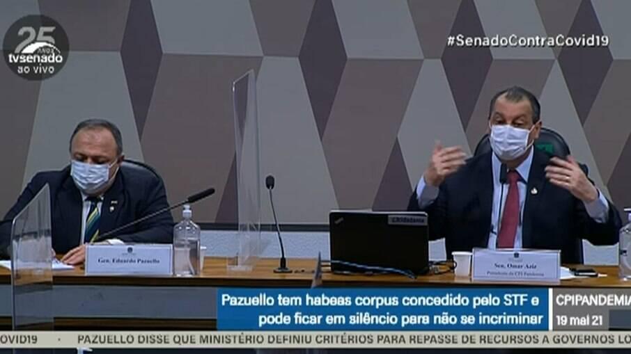 Ex-ministro Eduardo Pazuello e senador Omar Aziz (PSD-AM)