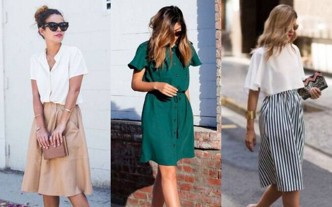 Os tecidos das saias e vestidos tornam essas peças essenciais para os dias quentes e combinam com looks para trabalhar