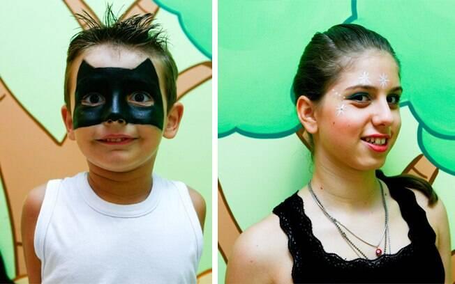 Bruno de Castro se transformou no Batman e Anna Luiza Pantaleone fez uma maquiagem de estrelas para brincar o carnaval