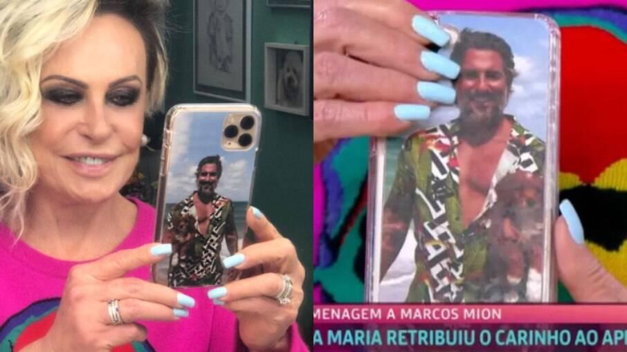 Ana Maria Braga homenageia Marcos Mion com foto na capa do celular