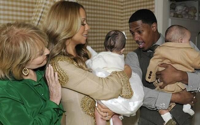 Mariah Carey e Nick Cannon com os gêmeos Moroccan e Monroe