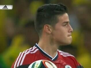 Inseto pousou no braço do camisa 10 colombiano, que comemorava gol marcado contra o Brasil
