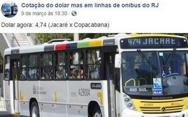 Perfil viralizou no Facebook ao usar cotação alta do dólar para brincar com linhas de ônibus