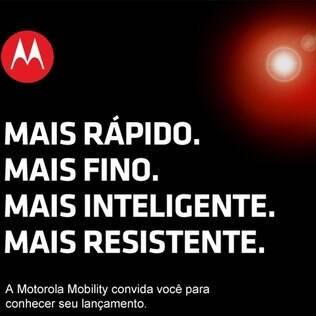 Convite enviado pela Motorola com a mesma chamada do produto lançado nos EUA