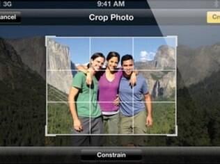 Aplicativo da câmera do iOS 5 recorta fotos