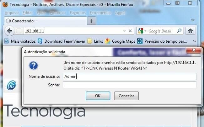 Digite o nome de usuário e senha informados no manual para acessar a página de configurações do roteador