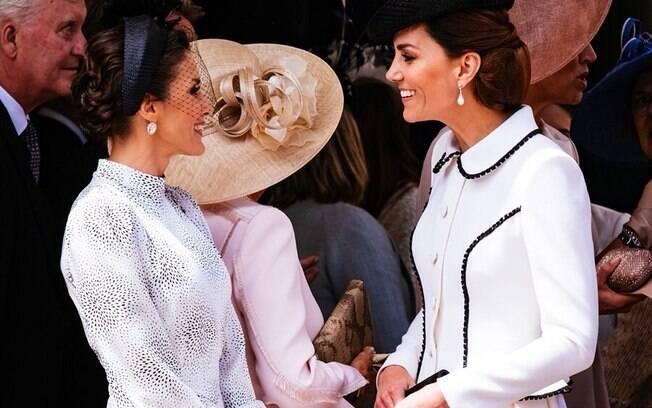 Kate Middleton com Camilla Parker Bowles e a Rainha Letícia, da Espanha