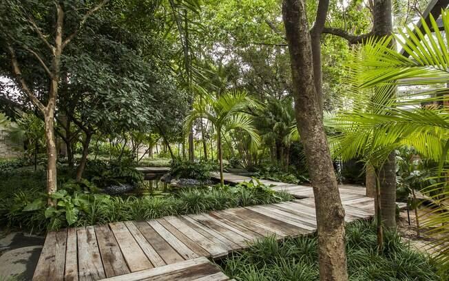 O paisagista Gilberto Elkis assina o Jardim do Bosque, que recepciona os visitantes da Casa Cor. A área de 800 m² conta com espécies tropicais e um lago com peixes