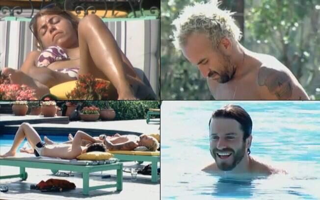 Raquel, Marlon e Gui relaxam na área da piscina