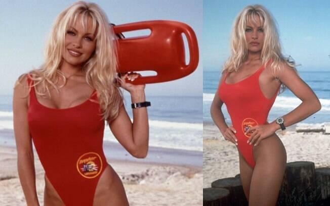 Pamela Anderson nos anos 1990 quando era a C.J. Parker da série 'SOS Mailu'