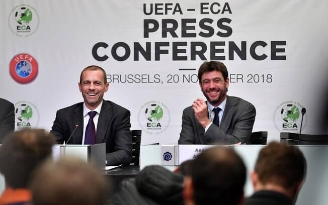O presidente da Uefa, Aleksander Ceferin, e o da Associação de Clubes Europeus (ECA), Andrea Agnelli, que também preside a Juventus