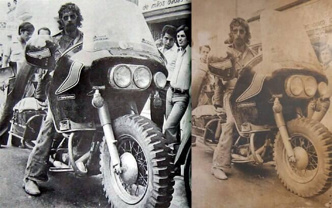O motociclista Gau e sua Harley-Davidson 1200, nos anos 70, com pneu de jipe