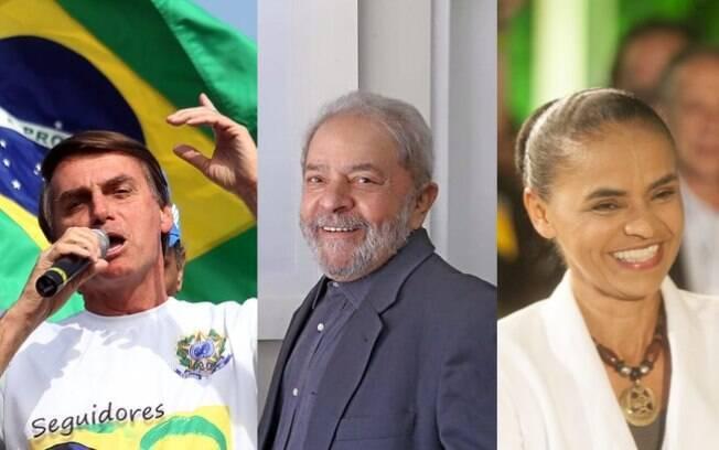 Jair Bolsonaro (esq.), Lula (centro) e Marina (dir.) são os três candidatos mais fortes para 2018, segundo o Datafolha