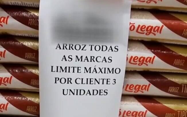 Supermercado no interior de São Paulo limita compra de arroz a três sacos por cliente