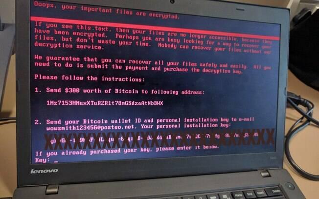 Cibercriminosos que realizam ataque com o ransomware pede resgate de US$ 300 em bitcoin