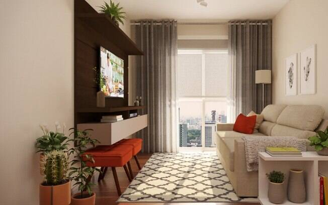 Cortinas e tapetes trazem a sensação de aconchego, fator importante principalmente para quem mora de aluguel