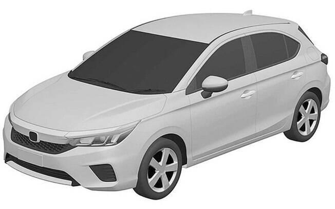 Honda City hatch terá a mesma frente do sedã, conforme revela a imagem de patente do modelo da marca japonesa