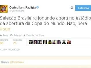 Corintianos não perderam a oportunidade de provocar o rival São Paulo durante amistoso pelo Twitter