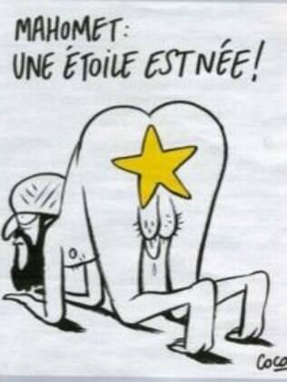 Exemplo de charge da Charlie Hebdo sobre o profeta Maomé criticada por Latuff