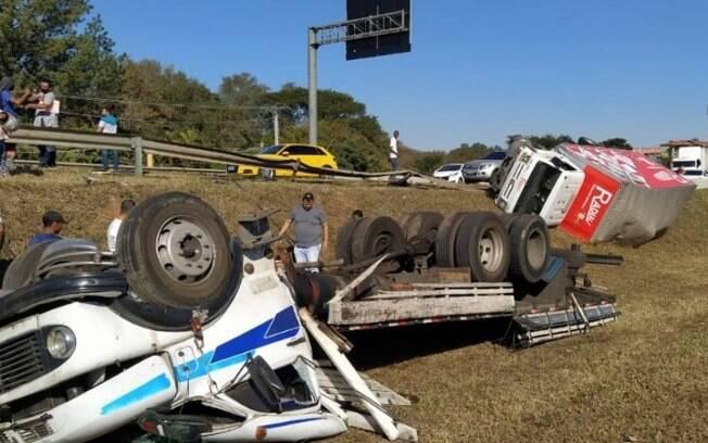 Acidente entre caminhões deixa uma pessoa ferida em Jaguariúna
