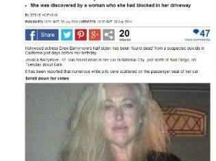 Jessica Barrymore, de 47 anos, teria sido encontrada em seu carro cercada por pílulas brancas nessa terça (29)