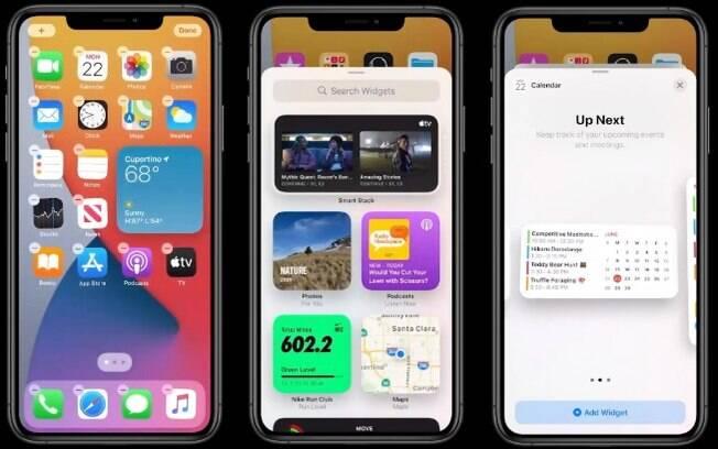 Como os widgets ficam no iOS 14