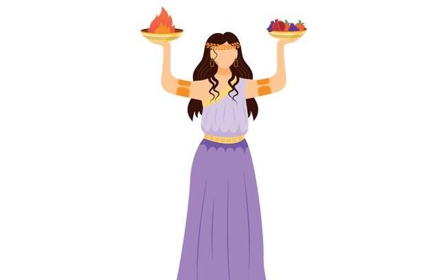 Héstia é a deusa da chama sagrada, representante do templo e símbolo do lar