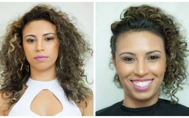 Antes e depois do penteado feito especialmente para as cacheadas