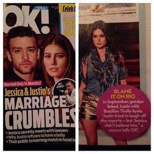 Revista afirma que Thaila Ayala foi pivô da separação de Justin Timberlake e Jessica Biel