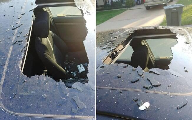 Frasco de shampoo estoura e destrói teto de carro