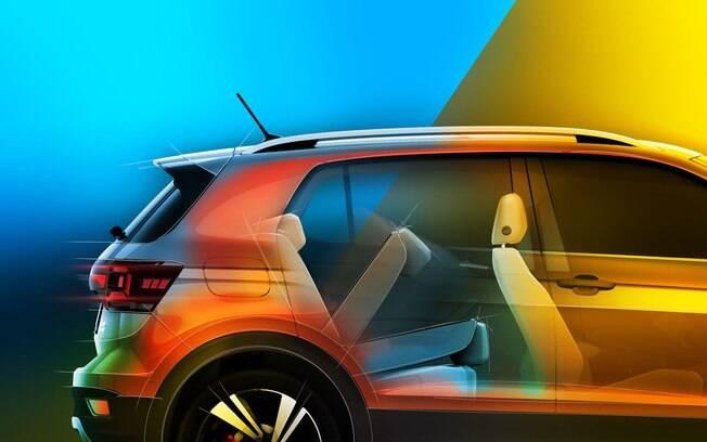 Desenho oficial da fabricante mostra parte da lateral e do interior do novo SUV VW T-Cross que será vendido na Europa
