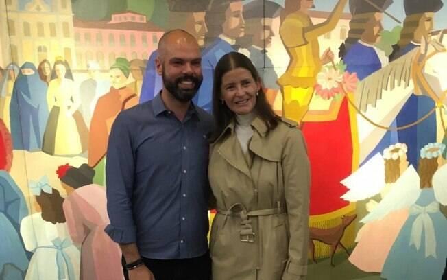Tarsilinha do Amaral e o prefeito de São Paulo Bruno Covas