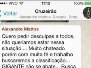 Dirigente pediu que mensagem fosse compartilhada entre os torcedores do Cruzeiro