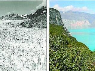 Contraste. Imagens de comparação do Muir Glacier, localizado em um parque nacional no Alasca, nos Estados Unidos, em 13 agosto de 1941 (esq.) e em 31 de agosto de 2004, mostram derretimento real