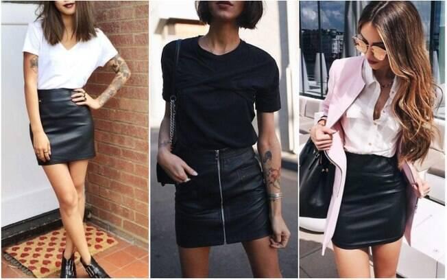 Versáteis, as saias de couro podem ser combinadas com camisetas básicas, camisas e até blazers