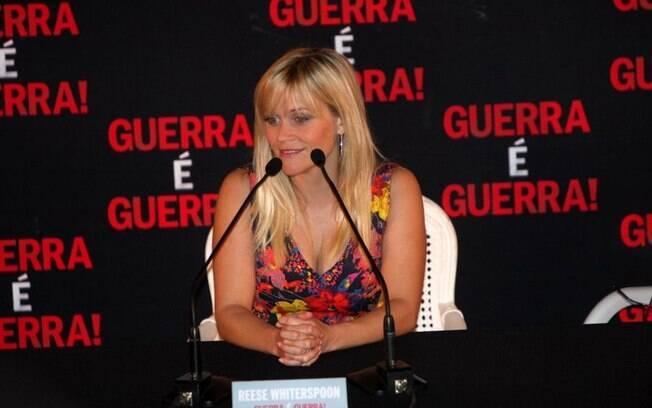 Reese Witherspoon durante coletiva de imprensa no Rio