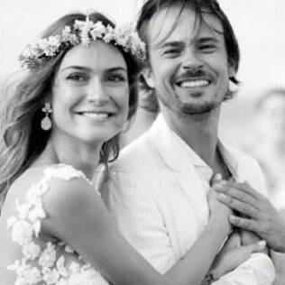 Thaila Ayala e Paulinho Vilhena no dia de seu casamento