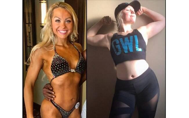Depois de três meses longe dos exercícios o corpo da fisioculturista mudou
