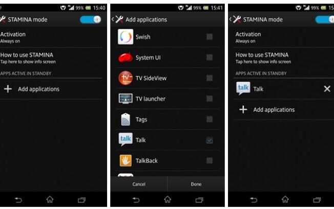 Modo Stamina, nos smartphones da linha Xperia, permite bloquear conexão de dados quando aparelho está em stand-by