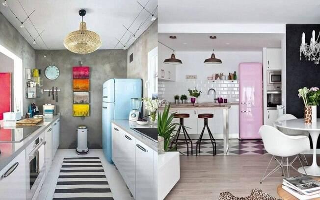 A geladeira em tom pastel dá vida para a cozinha de um jeito simples e personalizado