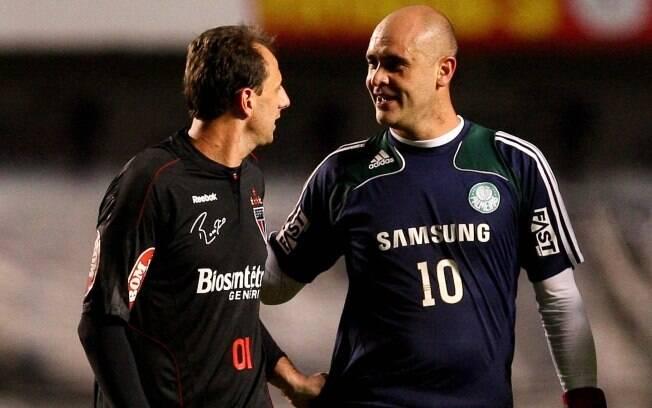 Rogério Ceni encontra Marcos em clássico  entre São Paulo e Palmeiras. Os dois estiveram  juntos pela seleção brasileira na Copa de 2002