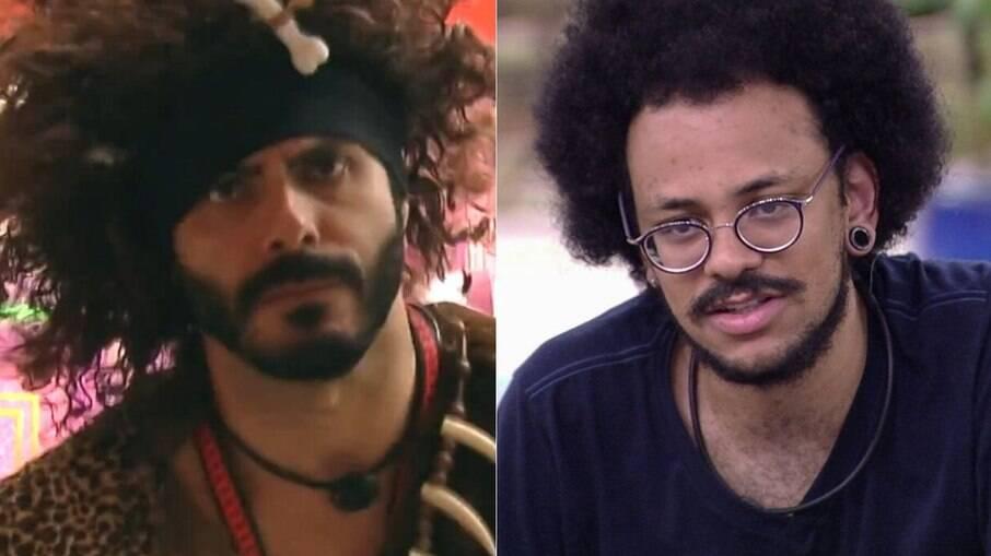 Rodolffo, vestido do monstro da semana, e João Luiz